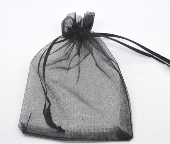 DoreenBeads Organza Organza Jewelry Bags Drawable Rectangle Black 9cm X7cm(3 4/8