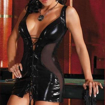 Women Sexy Lingerie Hot Black Latex Teddy Lenceria Sexy Babydoll Mini Dress Sexy Nightclub Costumes PU Leather Sexy Underwear 1