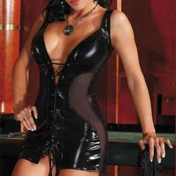 Для женщин сексуальное женское белье Горячая Черный латексный Мишка сексуальный комбинезон Lenceria мини платье пикантные Клубные костюмы из
