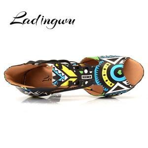 Image 3 - Ladingwu Brand Latin Dance Shoes Ladies Dance Boots Elastic band adjustment Ballroom Dance Shoes Blue African texture Shoes