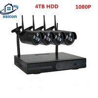 SSICON 4CH Wireless IP Camera Wi fi NVR Kit 1080P HD Outdoor IR Night Vision 2MP Security Network WIFI CCTV System Plug and Play