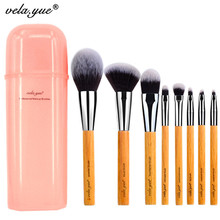 Wholesale 10sets/lot vela.yue Deluxe Makeup Brush Set Synthetic Face Cheek Eyes Lips Beauty Tools Kit with Gift