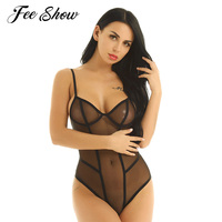 2ffe10c0bc874 Womens Lingerie Mesh See Through Sheer Open Crotch Bodysuit Teddy Catsuit  Sleeveless Crotchless Thong Leotard Jumpsuit