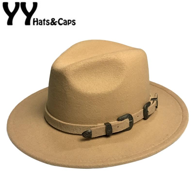 Winter Panama Hat Women Elegant Felt Caps Male Vintage Trilby Hat Wide Brim Fedora CAPS With Belt Chapeau Homme Feutre YY18016