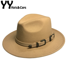 Winter Panama Hat Women Elegant Felt Caps Male Vintage Trilby Hat Wide