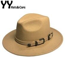 Winter Panama Hat Women Elegant Felt Caps Male Vintage Trilby Hat Wide Brim Fedora