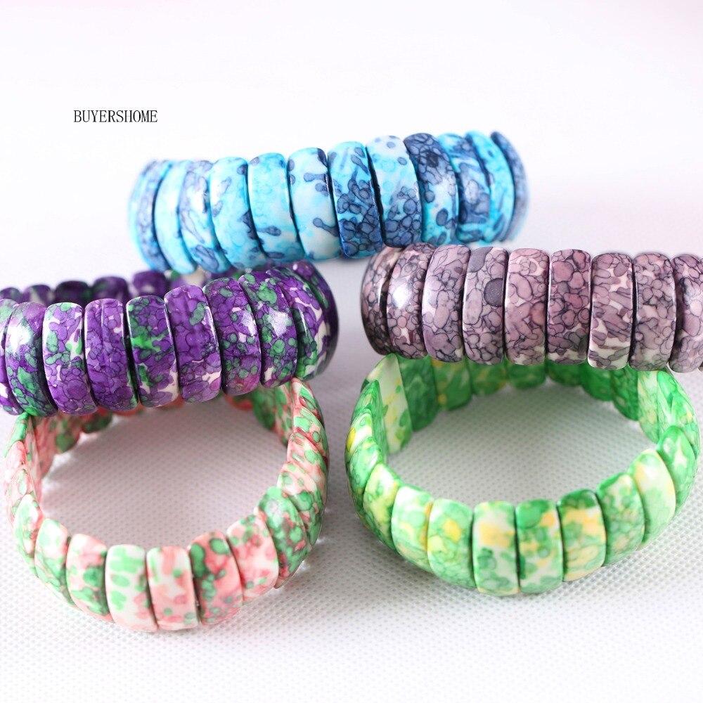 Free Shipping Women Jewelry Stretch Natural Beads Blue Brown Pink Purple Green Ocean Stone Bracelet 7″ 1Pcs