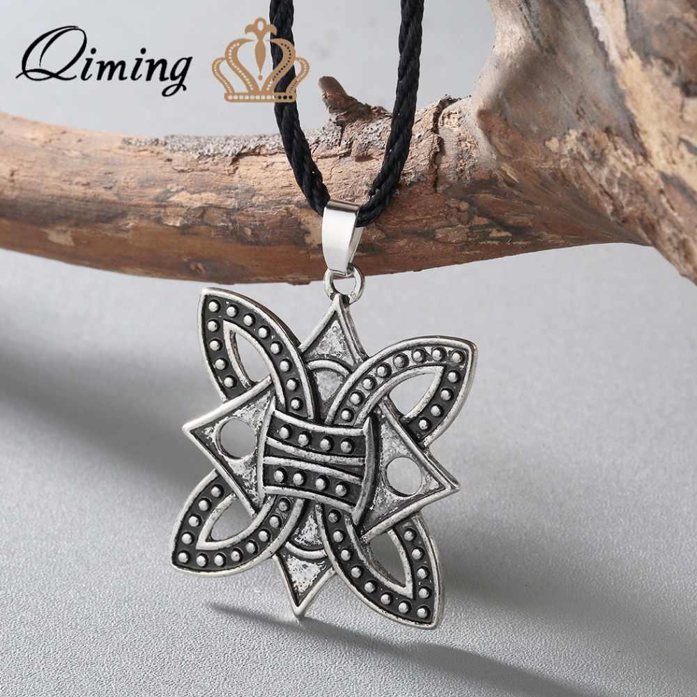 QIMING duży Viking pleciony Borre węzeł Norse celtycki srebrny wisiorek – biżuteria boże narodzenie najlepszy przyjaciel naszyjnik kobiety mężczyźni biżuteria