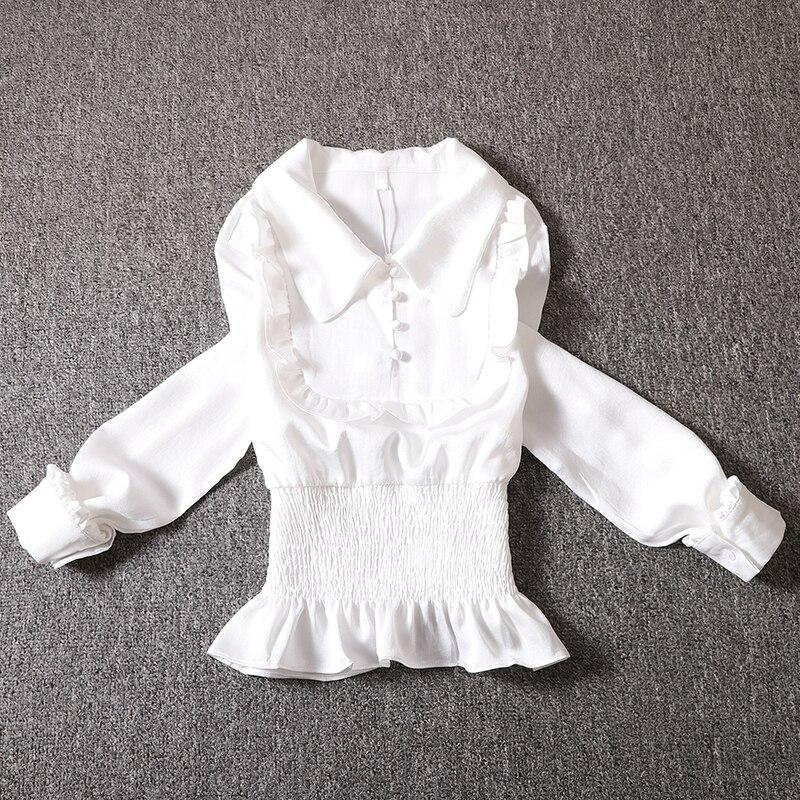 Printemps automne blouse femmes doux col claudine manches longues slim taille t-shirts