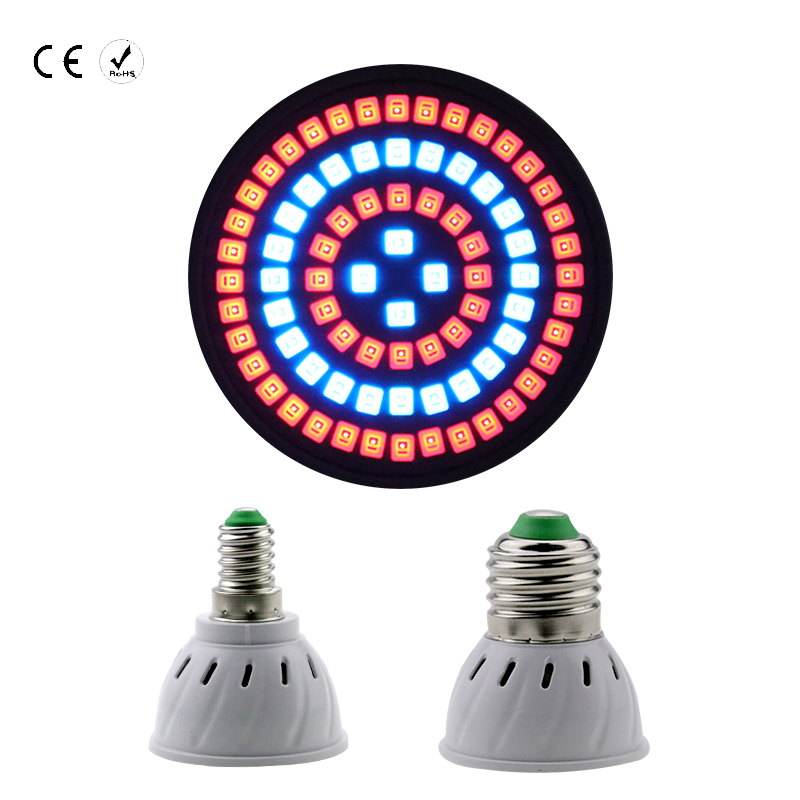 E14 LED Grow Light 2835SMD 60/80leds E27 220V Full Spectrum Plant Lamp For Indoor Flowering Plants Vegs Hydroponic System