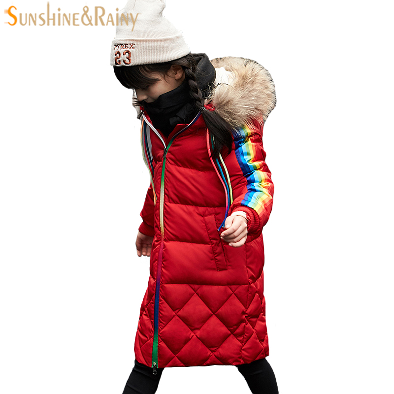 Girls Down Jacket For Boys Coat Fashion Rainbow Children Outerwear Winter Snow Wear Thicken Hooded Coat With Faux Fur Collar 2017 new fashion girls winter warm coat kids jacket hooded snow wear cotton down outerwear girl solid color winter clothes