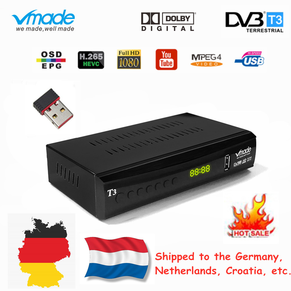 Vmade Fully HD Digital DVB T3 Terrestrial TV Box for Netherlands Support YouTube AC3 H.265 HD 1080p DVB T3 TV Receiver+USB WIFI-in Satellite TV Receiver from Consumer Electronics