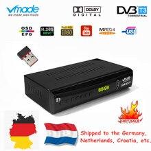 Vmade entièrement HD numérique DVB T3 boîtier de télévision terrestre pour les pays bas prend en charge YouTube AC3 H.265 HD 1080p DVB T3 récepteur de télévision + USB WIFI