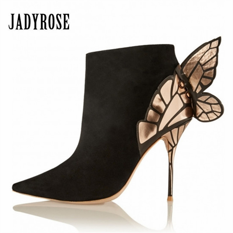 Jady Rose Butterfly Wing Design Women Ankle Boots Autumn Winter Pointed Toe High Heel Boots Suede Botas Mujer Valentine Shoes jady rose green suede women ankle boots belt buckle rubber boot mixed color chunky high heel shoes woman autumn botas mujer