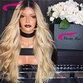 180% Densidad Brasileño de la virgen del pelo pelucas Delanteras del cordón Rubio Pelo llena del cordón pelucas del pelo humano T1B/613 Glueless de la Peluca en Negro mujeres