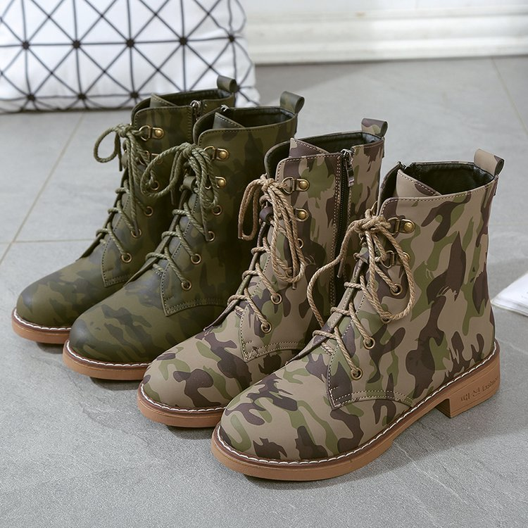 Para De Zapatos Cuero Camuflaje Militar Las 19 Mujeres Plataforma Nieve 2 Tacones Tops Combate Mujer Tobillo 1 Botas Martin 06w8tn1