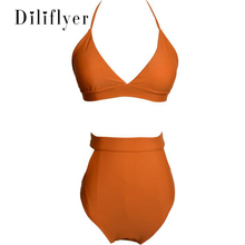купить Sexy Women Halter Hollow Out Swimwear Swimsuit Solid Brazilian Bikini Bathing Suits Beachwear Bandage M901 по цене 1496.71 рублей