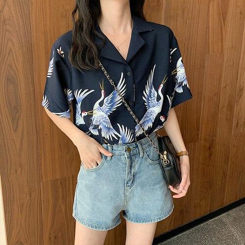 Nuevo 2019 verano mujeres Tops Harajuku blusa mujer grúa estampado Blusas de manga corta Camisas Mujer Streetwear Blusas señoras Tops