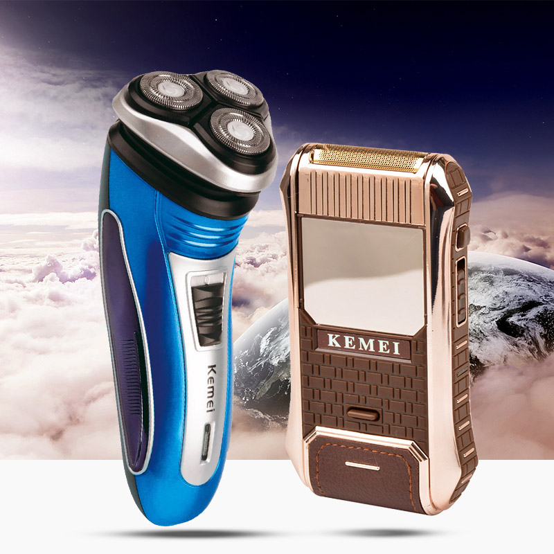 Kemei Men Shaver 220-240V Rechargeable Electric Shaver 3D Triple Floating Blade Heads Shaving Razors Hair Removal Beard Trimmer 3d floating heads waterproof electric shaver wet
