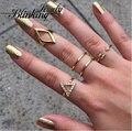 Alta Qualidade Do estilo Do Vintage Punk Banhado A Ouro de Cristal Geométrica Triângulo Mid Ring Finger 5 pçs/set Atacado