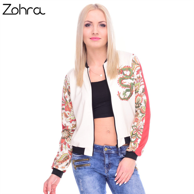 Zohra Autumn Winter Women Bomber Jacket Printing Chinese Dragon Chaquetas Mujer Fashion Jackets Outwear for Women Basic Coats