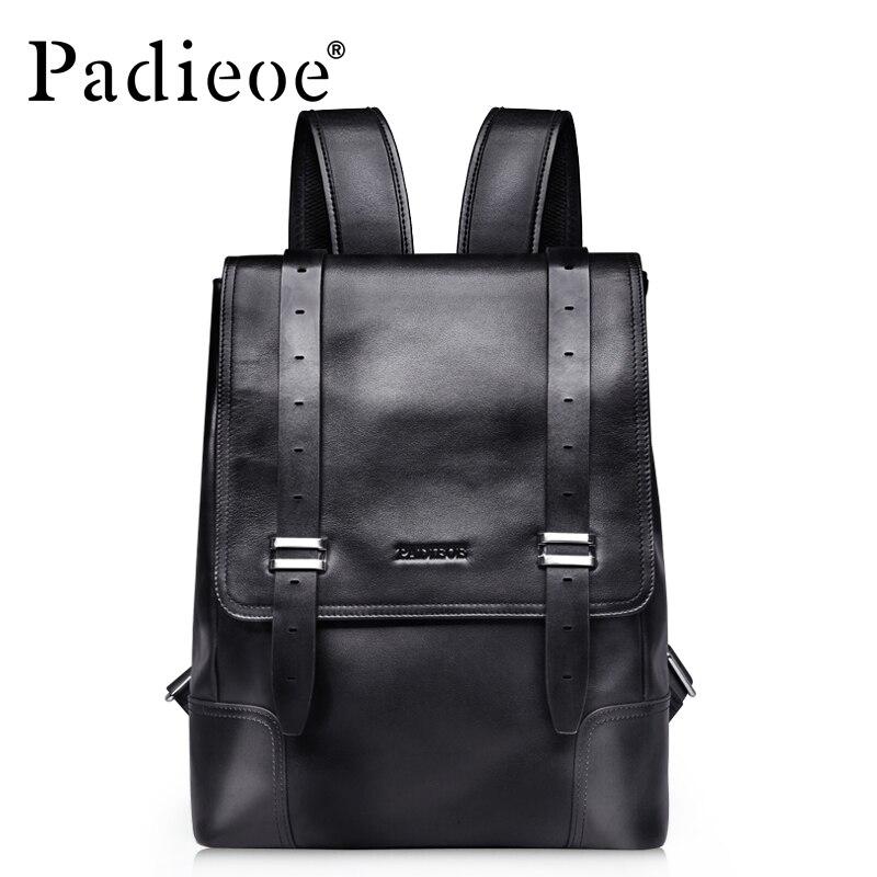купить Padieoe Unisex Genuine Leather School Bags For Teenagers Backpack Famous Brand Men Travel Casual Cowhide Laptop Backpack недорого