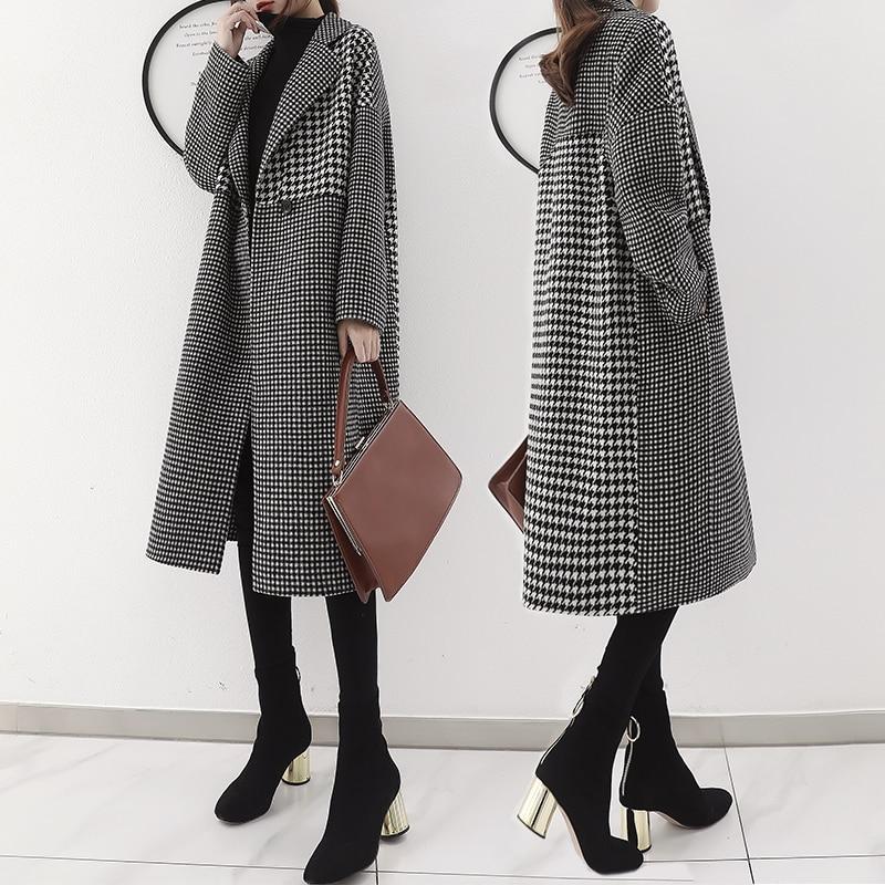 Femmes As Plaid Femme Mode La Feminino Vent Cardigan Long Manteau vent Pour Imperméable Photo Trench Casaco Coupe De Lâche À Vêtements wqHtf5CCE