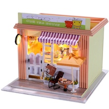 Brand New Hoomeda DIY Wood Dollhouse Cute Miniature With LED Furniture Cover Tea House Assembled Model