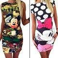 Verão mulheres dress 2017 moda cópia bonito minie rato dress carta imprimir bainha sexy dress túnica bodycon mulheres vestidos