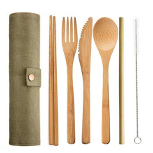 6pcs/set Straw Kitchen Utensil With Random Bag Eco-friendly Travel Reusable Portable Bamboo Cutlery Set Spoon Fork Chopstick