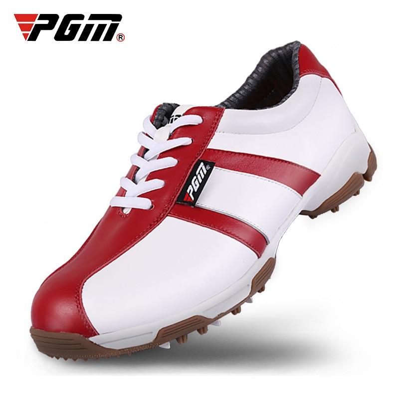 Sapatos de Golfe Mulher à Prova Mulher Marca Couro Genuíno Dwaterproof Água Antiderrapante Spikes Tênis Respirável Hard-wearing Aa51037 Pgm