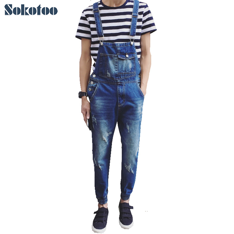 Sokotoo Men's casual pocket light blue denim overalls Slim jumpsuits Ankle banded pants Ripped jeans for man 2016 new men s casual pocket blue denim overalls slim jumpsuits pants ripped jeans for man plus size 28 34