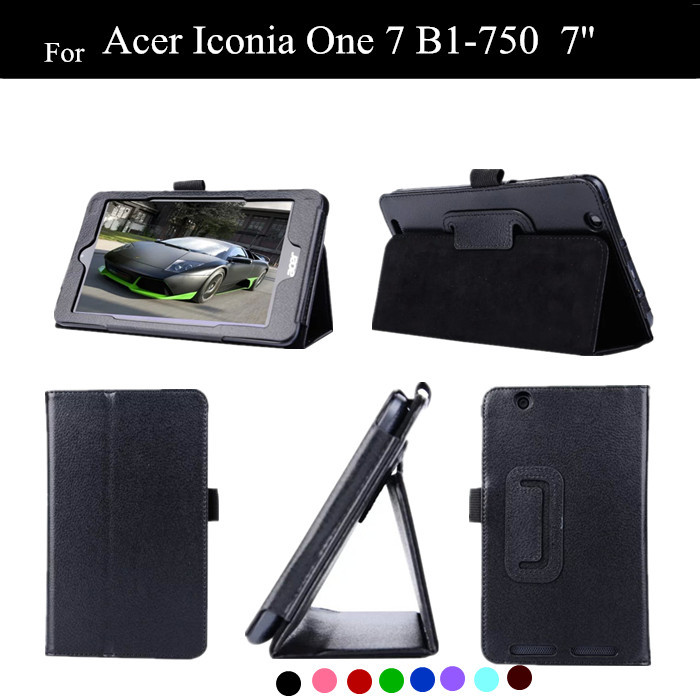 200PC/LOT Wholesale B1-750 Lichee Pattern Stand PU Leather Case For Acer Iconia One 7 B1-750 Tablet Case