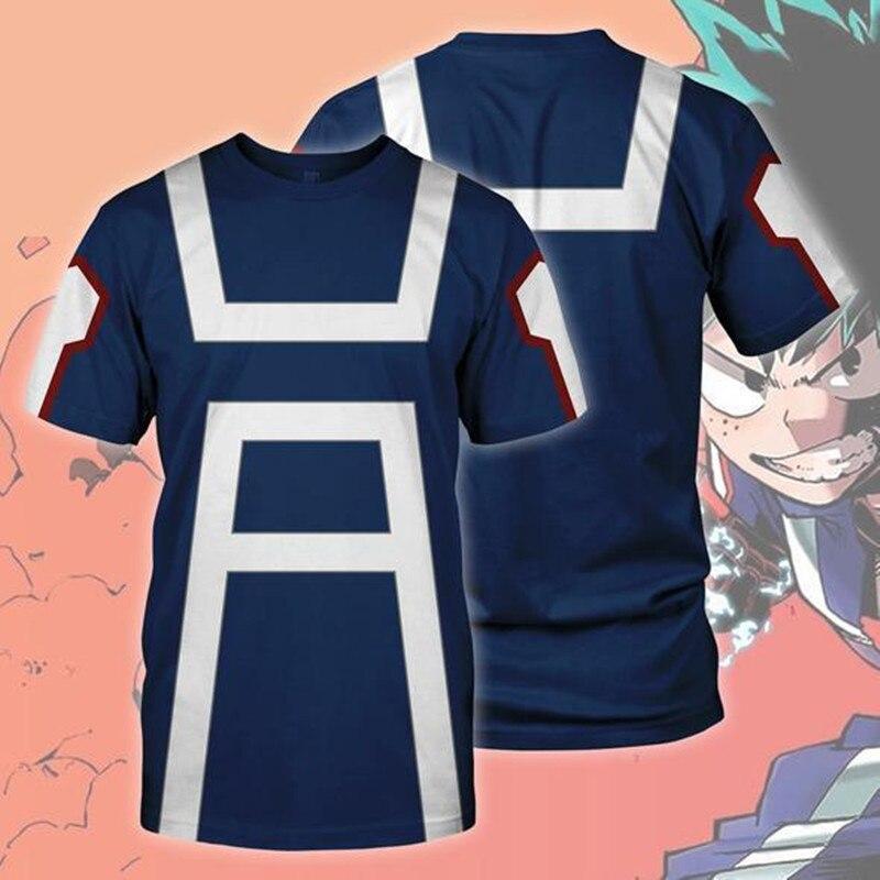 私のヒーロー学界制服トップ半袖コスプレ衣装アニメ tシャツ夏の Tシャツの男性服