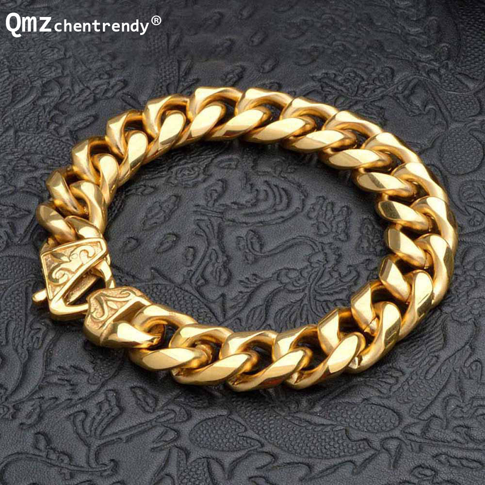 New Titanium Mens Gold Punk Heavy Twisted Link Chains Bracelet Bangles Cuff Wristband Pulseras Trendy Male Jewelry Brace lace