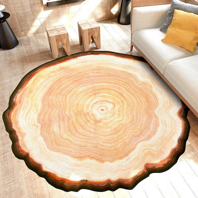 LIU Creative Tree Wooden Stake Ring Carpet Bedroom Living Room Table Mats Household Computer Chair Cushion