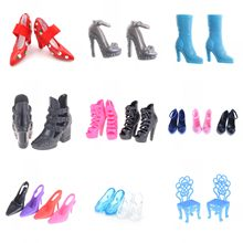 1/2 Pairs Assorted Fashion Colorful Mixed Style Sandals High Heels Shoes For Girl Doll Accessories Clothes Dress Kid Toy(China)