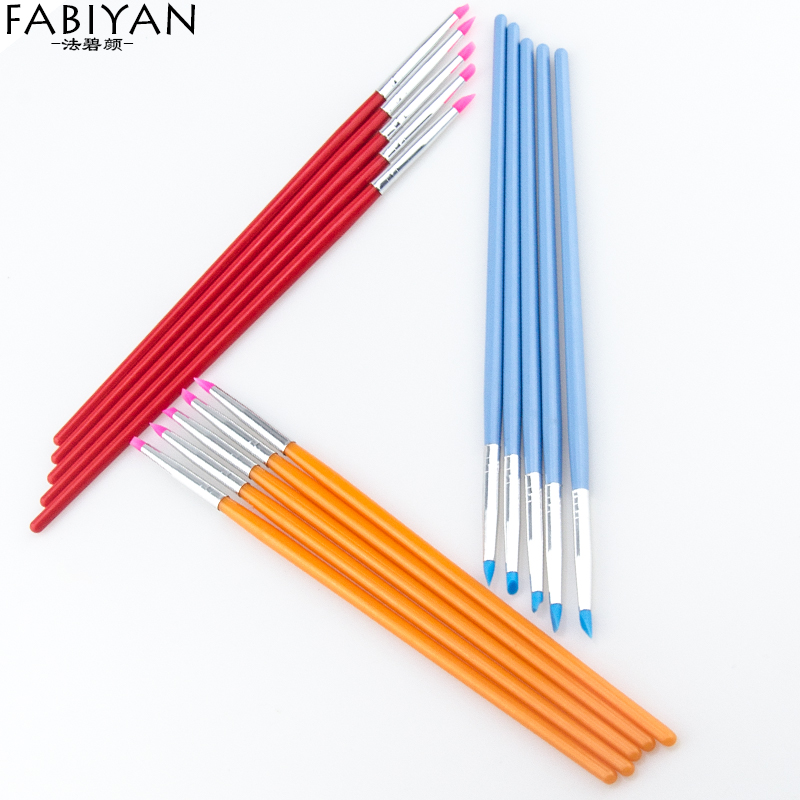 5Pcs/Set Nail Art Brush Painting Carving Dotting Pen Soft Silicone Craft Building Emboss Shaping Hollow Sculpture Clay Tips Tool 3080 00 craft tool strip