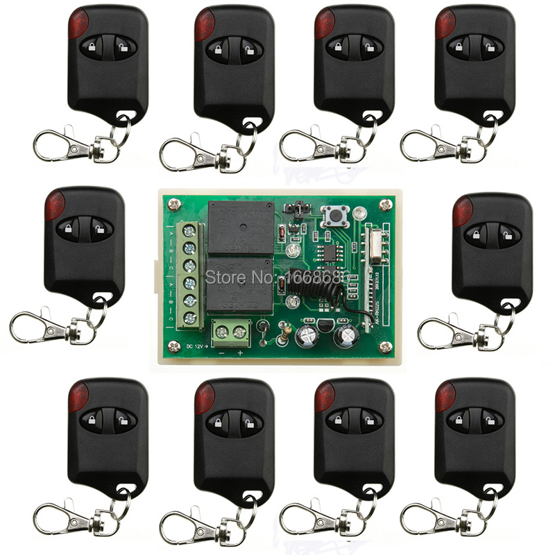 DC12V 2CH Wireless Remote Control Switch System 1*Receiver + 10*cat eye Transmitters  /lamp/ window/Garage Doors shutters 27mhz 2 ch 1 14 scale a key switch doors steering wheel remote control car w lamp red black