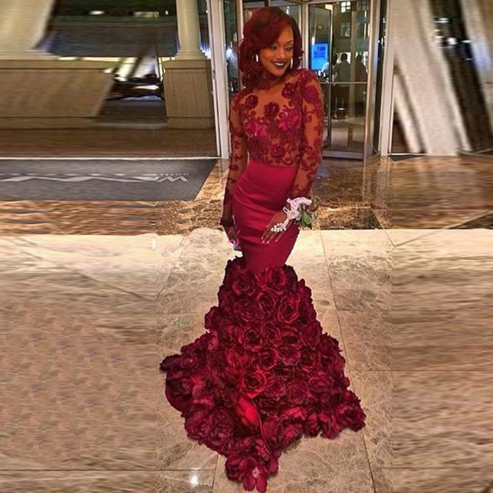 Sexy Backless Mermaid Burgundy Flower Prom Custom Made Long Sleeve Flower Party Evening Gown 2018 Mother Of The Bride Dresses