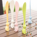 2016 New Safety Soft Spoon Baby Flatware Feeding Spoon Rabbit Rice Paddle Nonsticky Dinnerware Cartoon Health Spoon