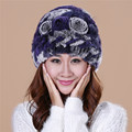 Hot 2016 New Fashion the new autumn and winter rex rabbit fur grass lady cap warm winter hat wool cap/12 color TM28
