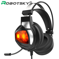 V9 USB Gaming Headphones Wire LED Bass HiFi Stereo Cuasque Earphone 30mm+40mm Dual Speaker Headset with Mic For PC Laptop Gamer