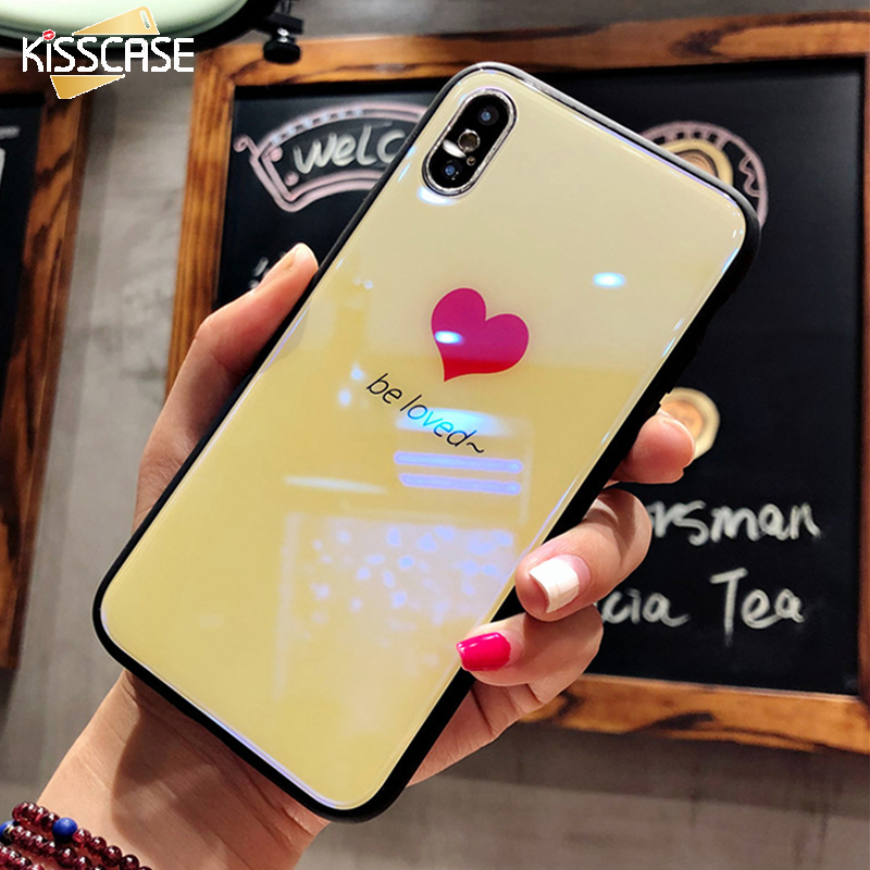 best service a2db2 3b229 KISSCASE Luxury Tempered Glass Case For iPhone X 10 8 7 Cute Love Heart  Unicorn Full Clear Glass Cover Case For iPhone 6 6s 7 8