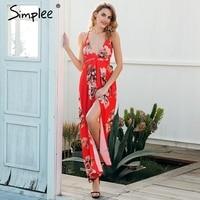 Simplee Sexy Deep V Neck Boho Dress Women Backless Cross Lace Up Summer Beach Long Dress
