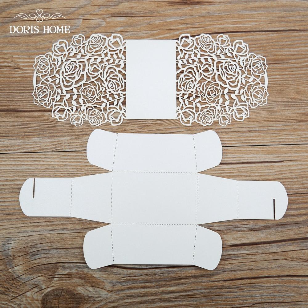 100pcs Cream Rose Laser Cut Wedding Favor Boxes Wedding Candy Box ...
