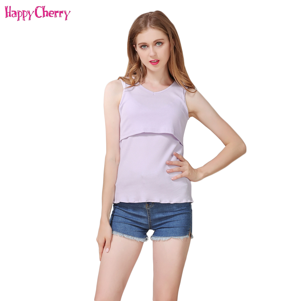 Happy Cherry Maternity Nursing Breastfeeding Vest Pregnant Women Tank Tops Blouse Shirt Mama Soft Tees Clothes For Pregnancy