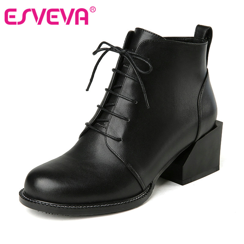 ФОТО ESVEVA  2016 British Style Shoes Autumn Pu+real Leather Women Shoes Square Heel Ankle Boots Black Women Fashion Boots Size 34-40