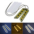 2Pcs LED Car COB DRL Daytime Running Lights Fog Lights Flexible Silicone Waterproof Led With Turn Signal Car Styling