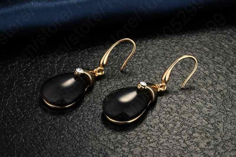 ผู้หญิงเครื่องประดับ Vintage สีดำจี้โอปอลสีเหลืองทอง Filled Chain Water Drop เครื่องประดับชุดจัดส่งฟรี